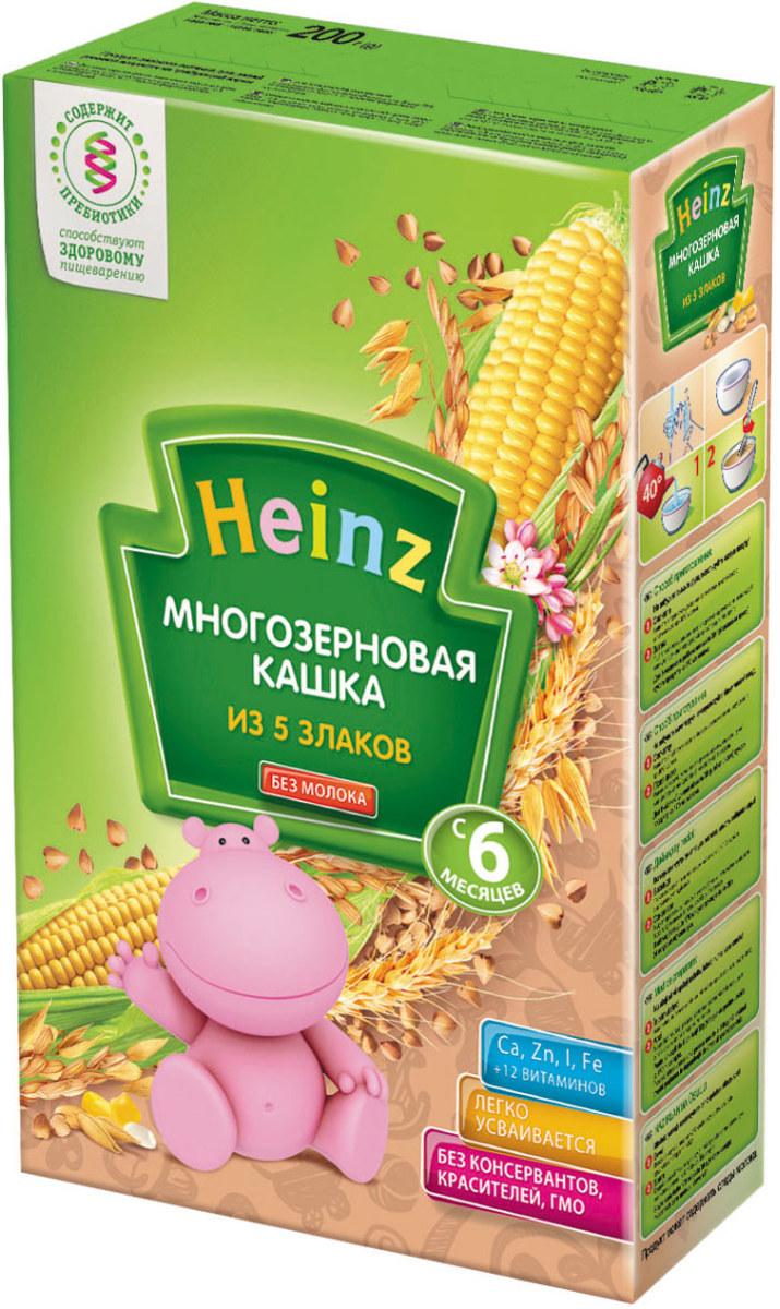 Heinz каша многозерновая из пяти злаков, с 6 месяцев, 200 г каша безмолочная heinz многозерновая из 5 злаков с 6 мес 30 гр
