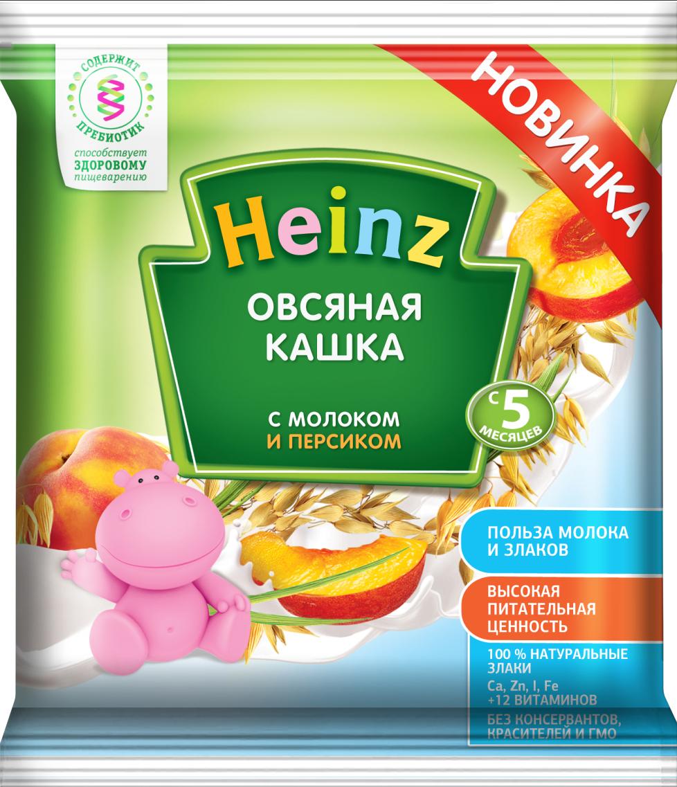 Heinz каша овсяная с персиком и молоком сашет, с 5 месяцев, 30 г