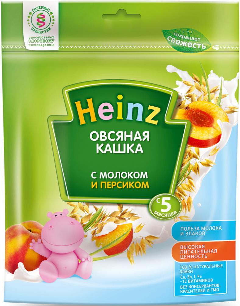 Heinz каша овсяная с персиком и молоком, с 5 месяцев, 250 г каши heinz безмолочная каша из 5 злаков я большой с 12 мес 250 г