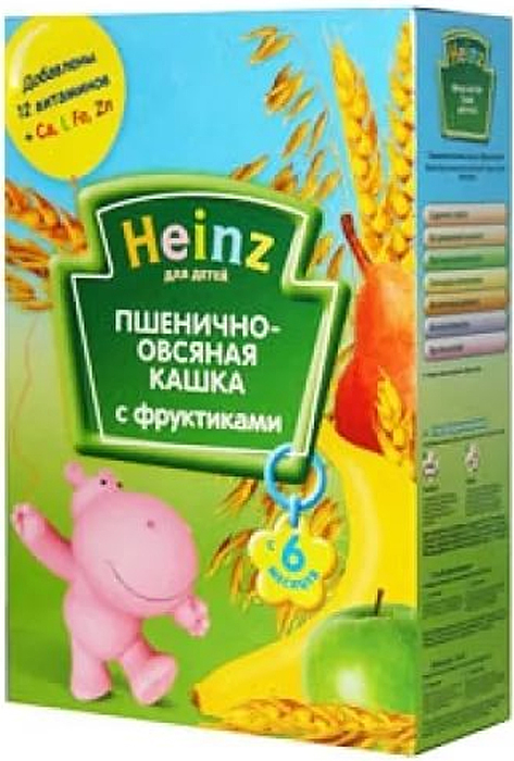 Heinz каша пшенично-овсяная с фруктиками, с 6 месяцев, 200 г79000262Для 6-месячного ребёнка возьмите 30 г (4 столовых ложек) сухого продукта на 170 мл воды. Налейте указанное количество вскипячённой и остуженной до 40°С воды в тарелочку. Тщательно перемешивая, всыпьте рекомендуемое количество сухой каши до получения однородной консистенции. Не варите. Продукт содержит глютен и может содержать незначительное количество молока.