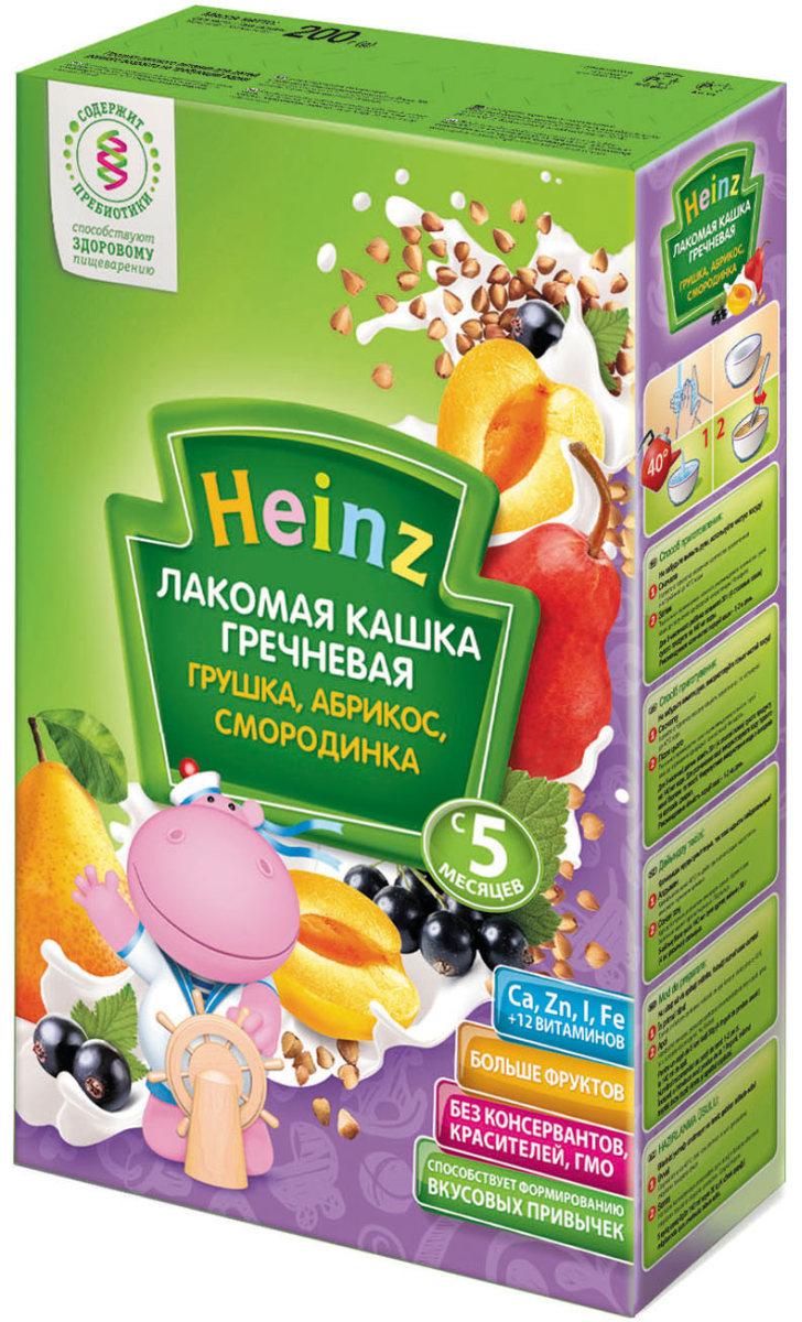 Heinz Лакомая каша гречневая грушка, абрикос, смородинка, с 5 месяцев, 200 г каша молочная heinz лакомая пшенично кукурузная персик банан вишенка с 6 мес 200 г