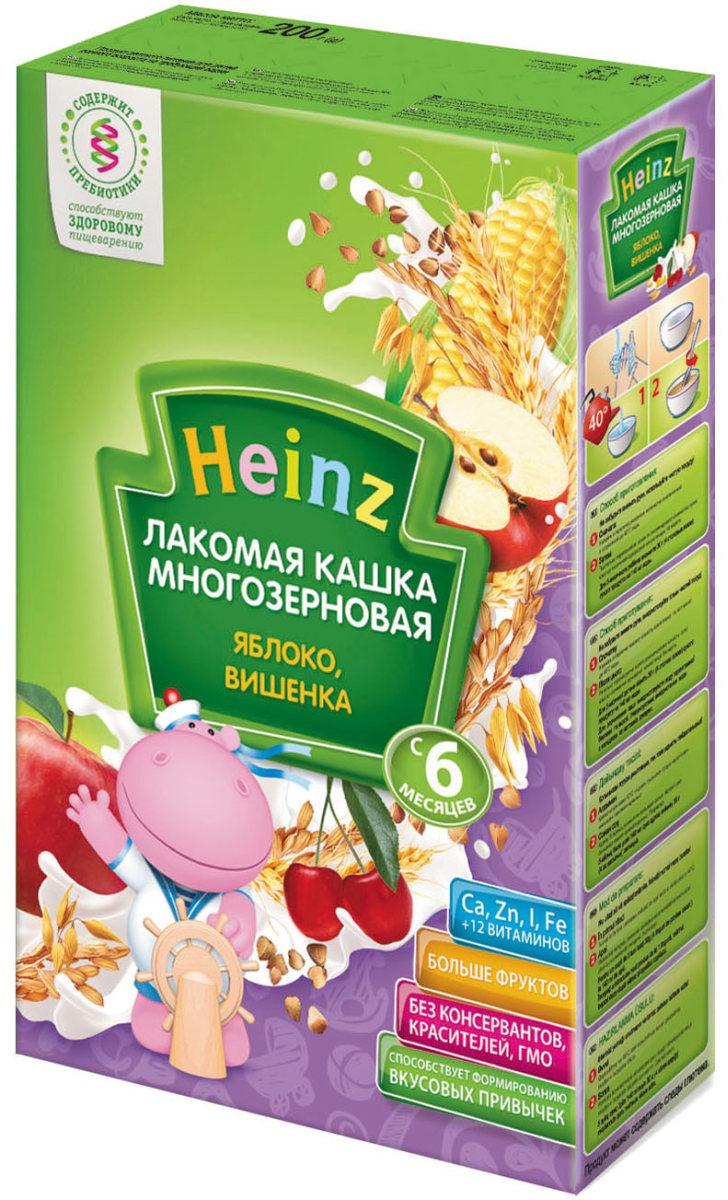 Heinz Лакомая каша многозерновая яблоко, вишенка, с 6 месяцев, 200 г каши heinz молочная лакомая пшеничная каша абрикос персик вишенка с 5 мес 200 г