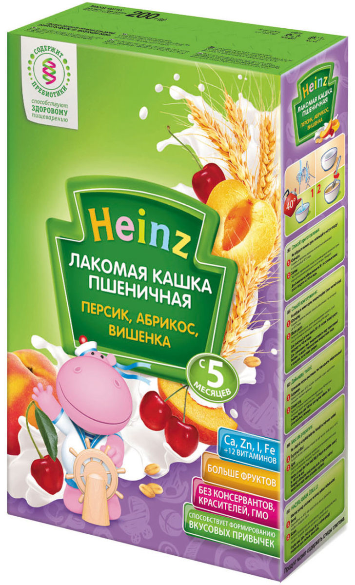 Heinz Лакомая каша пшеничная персик, абрикос, вишенка, с 5 месяцев, 200 г heinz кашка любопышки слива абрикос черника с 12 мес