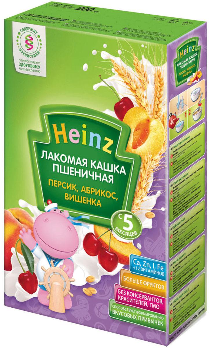 Heinz Лакомая каша пшеничная персик, абрикос, вишенка, с 5 месяцев, 200 г каша безмолочная heinz злаки и овощи рисово пшеничная с кабачком с 5 мес 200 г