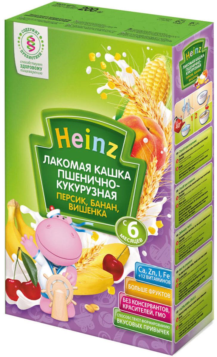 Heinz Лакомая каша пшенично-кукурузная персик, банан, вишенка, с 6 месяцев, 200 г плакат a2 42x59 printio взрывная блондинка