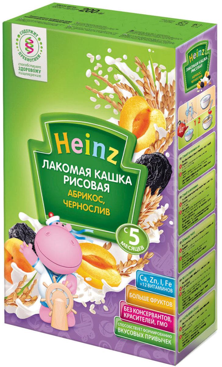 Heinz Лакомая каша рисовая абрикос, чернослив, с 5 месяцев, 200 г каша молочная heinz лакомая пшенично кукурузная персик банан вишенка с 6 мес 200 г