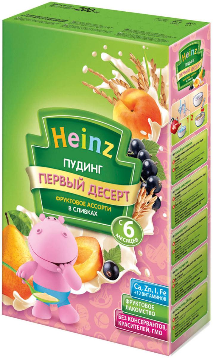 Heinz пудинг фруктовое ассорти в сливках, с 6 месяцев, 200г79000289Для 6-месячного ребенка возьмите 30 г (4 столовые ложки) сухого продукта на 110 мл воды. Налейте в тарелочку указанное количество вскипяченной и остуженной до 40°С воды. Тщательно перемешивая, всыпьте рекомендуемое количество сухого продукта до получения однородной консистенции. Не варите.Продукт содержит глютен и молоко