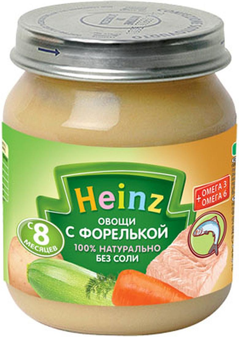 Heinz пюре овощи с форелькой, с 8 месяцев, 120 г пюре heinz фруктовое 120 гр грушка и черничка с печеньем с 6 мес