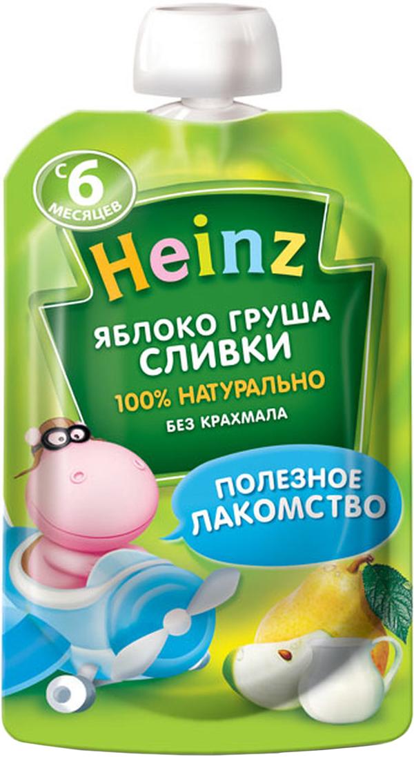 Heinz пюре яблоко груша сливки, с 6 месяцев, 90 г (пауч) heinz пюре цыпленок с телятинкой с 6 месяцев 80 г