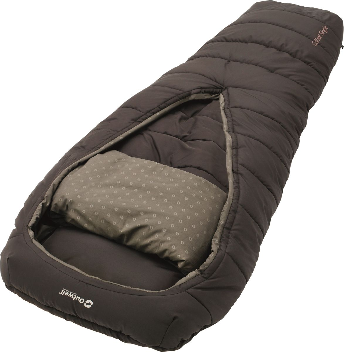 Спальный мешок Outwell Cardinal, кокон, цвет: коричневый, 220 x 85 см230178Спальный мешок Outwell Cardinal однослойный, прочный и ультра-мягкий. Удобный широкий мешок имеет инновационное исполнение без молнии с открывающейся частью округлой формы, просторное пространство внутри и цельное пуховое одеяло, помогает регулировать температуру и облегчает свободу движения.Особенности:Вшитая подушка.Молния в ногах для вентиляции.Уникальная коническая форма, с дополнительным пространством для ног.Компрессионный мешок.