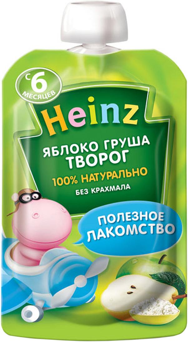 Heinz пюре яблоко груша творог, с 6 месяцев, 90 г пауч75980276Продукт готов к употреблению. Откройте крышку и кормите с ложечки. Более взрослые дети могут употреблять продукт непосредственно из упаковки. Если продукт необходимо разогреть, поместите упаковку в теплую воду. Не разогревать в микроволновой печи.