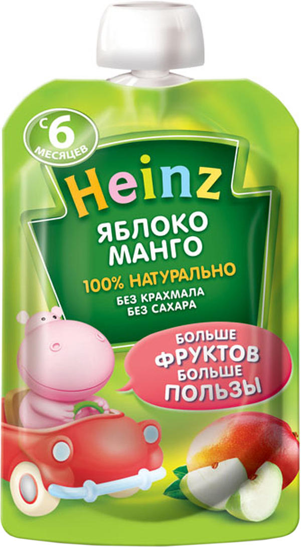 Heinz пюре яблоко манго, с 6 месяцев, 90 г пауч каша молочная nestle мультизлаковая с яблоком черникой и малиной с 6 мес 250 г