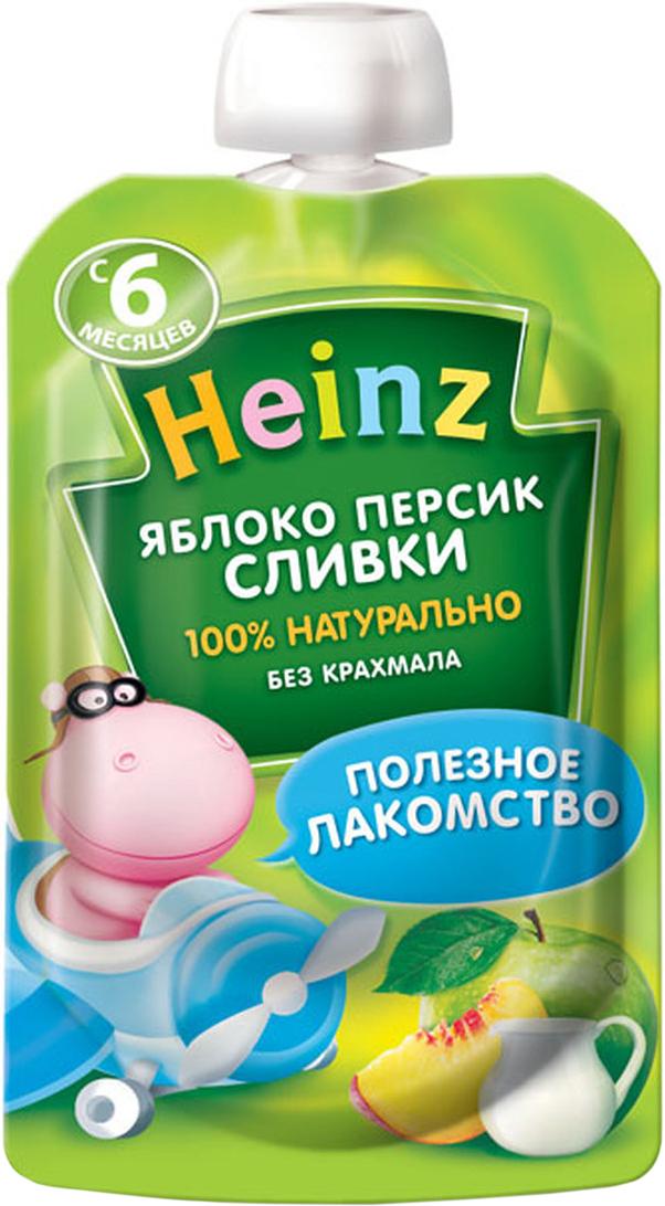 Heinz пюре яблоко персик сливки, с 6 месяцев, 90 г (пауч)75980278Продукт готов к употреблению. Откройте крышку и кормите с ложечки. Более взрослые дети могут употреблять продукт непосредственно из упаковки. Если продукт необходимо разогреть, поместите упаковку в теплую воду. Не разогревать в микроволновой печи.
