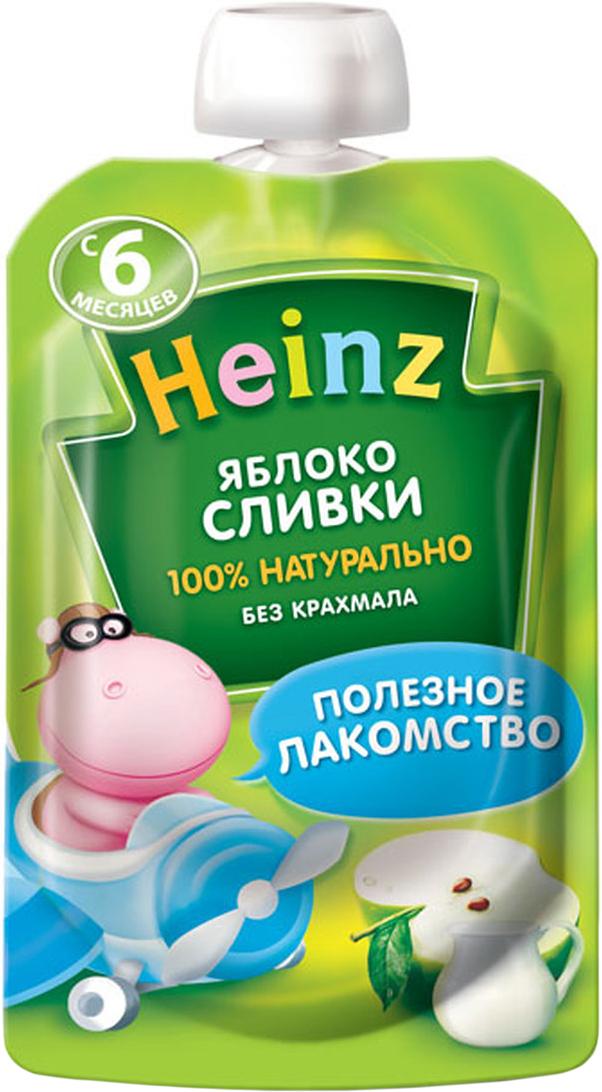 Heinz пюре яблоко сливки, с 6 месяцев, 90 г (пауч) heinz пюре цыпленок с телятинкой с 6 месяцев 80 г