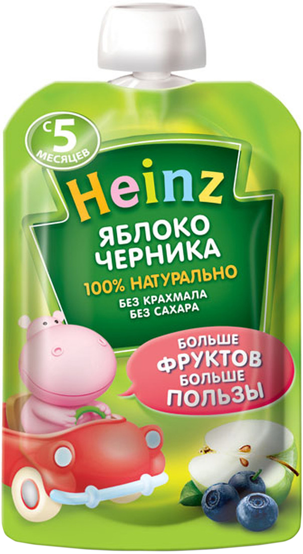 Heinz пюре яблоко, черника, с 5 месяцев, 90 г (пауч) пюре расти большой яблоко с 4 мес 90 г пауч
