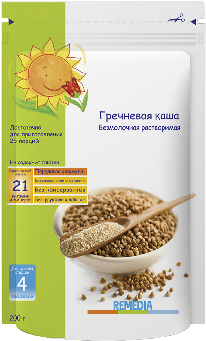 Remedia каша гречневая безмолочная, с 4 месяцев, 200 г каша безмолочная малютка гречневая с 4 мес 200 г