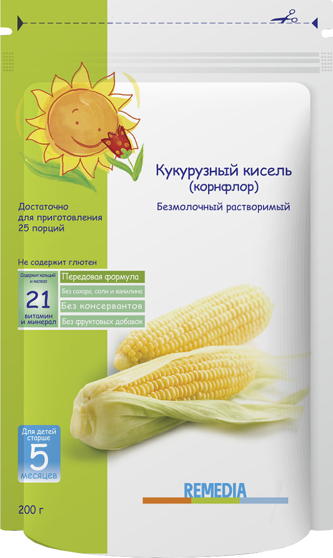 Remedia каша кукурузный кисель, с 5 месяцев, 200 г каша безмолочная remedia кукурузный кисель корнфлор с 5 мес 200 г