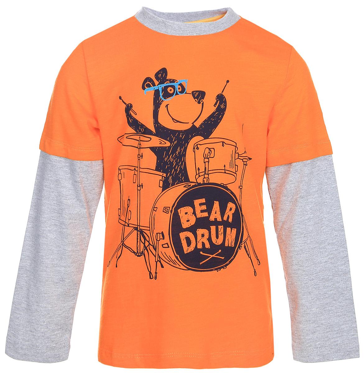 Футболка с длинным рукавом для мальчика Sela, цвет: оранжевый. T-711/222-7310. Размер 110, 5 летT-711/222-7310Футболка для мальчика Sela выполнена из трикотажного материала и оформлен оригинальным принтом. Модель с круглым вырезом горловины и длинными рукавами.