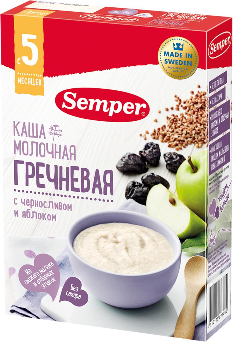 Semper каша гречневая с черносливом и яблоком молочная, с 5 месяцев, 200 г каши semper молочная гречневая каша с черносливом и яблоком с 5 мес 200 г