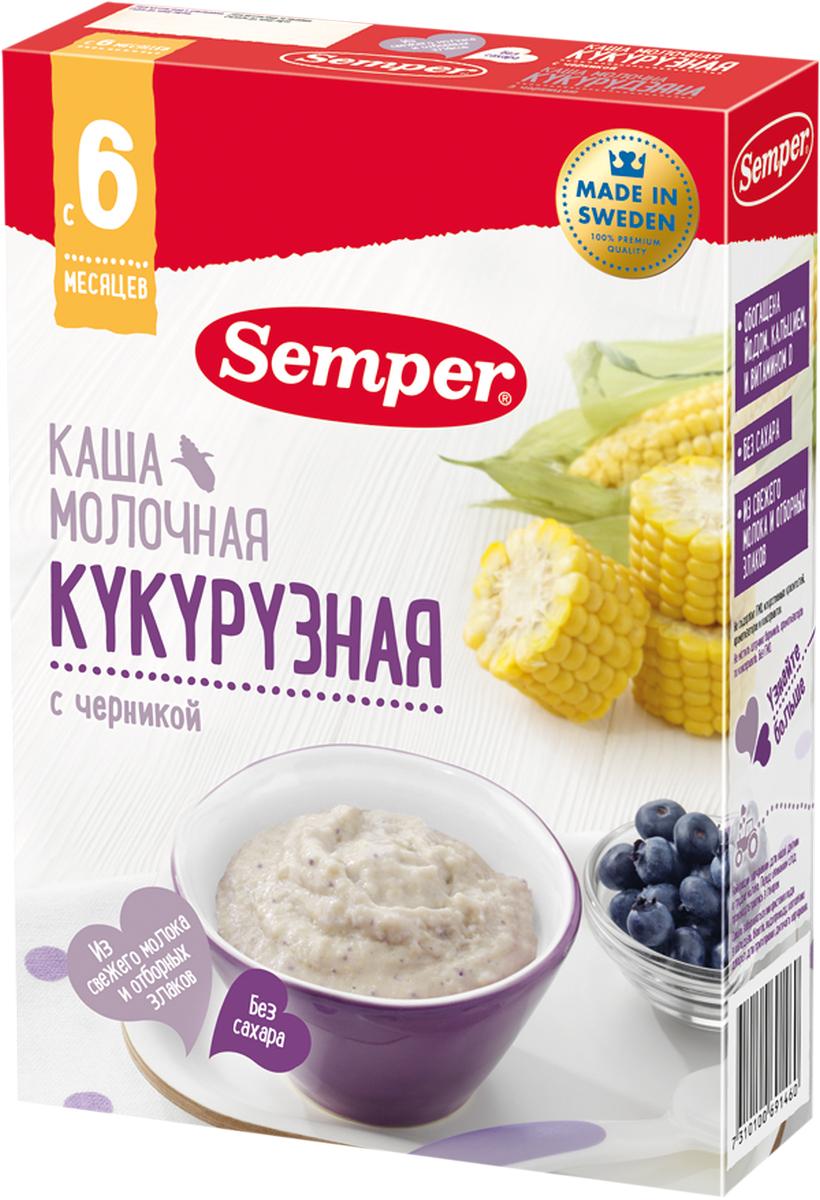 Semper каша кукурузная с черникой молочная, с 6 месяцев, 200 г -  Детское питание