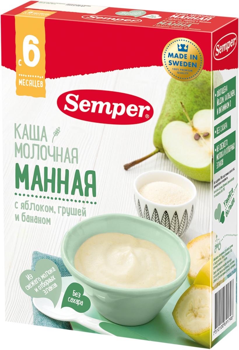 Semper каша манная с яблоком, грушей и бананом молочная, с 6 месяцев, 200 г каша молочная semper овсяная с яблоком и бананом с 6 мес 200 г