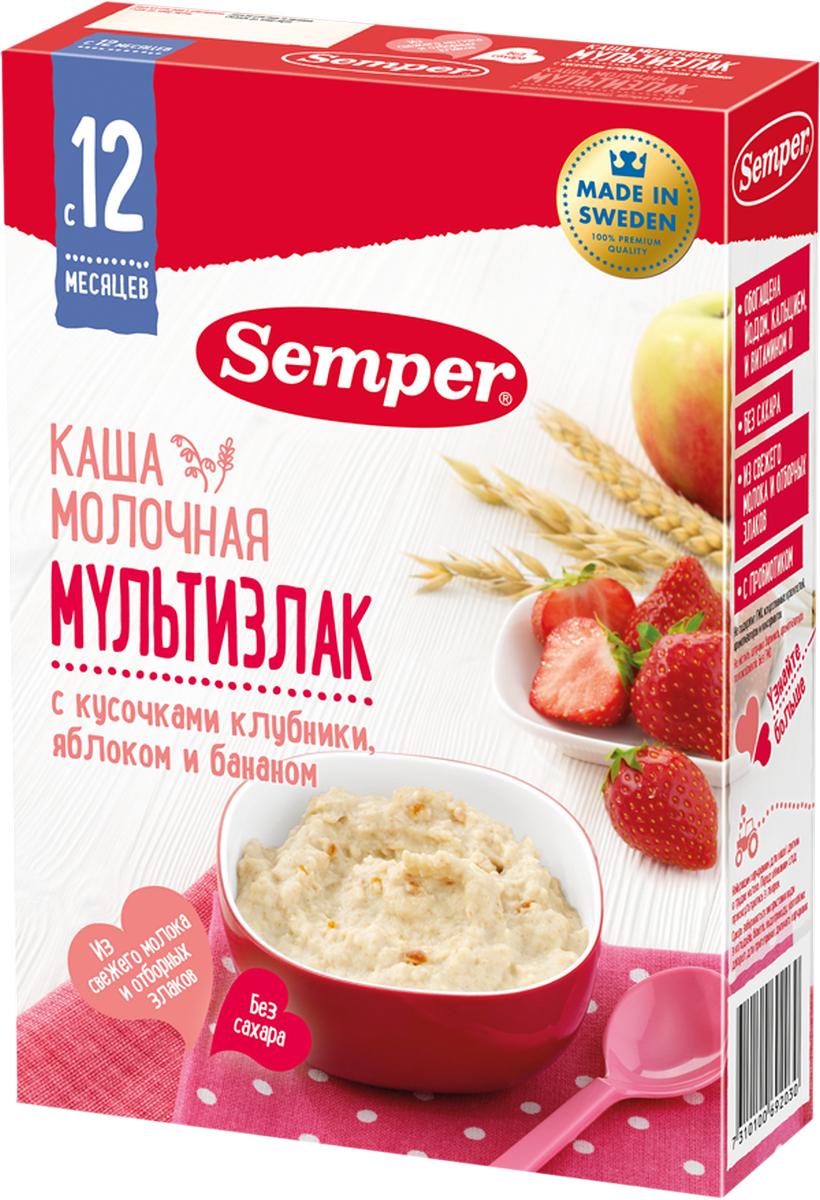Semper каша мультизлак с кусочками клубники, яблоком и бананом молочная, с 12 месяцев, 200 г -  Детское питание