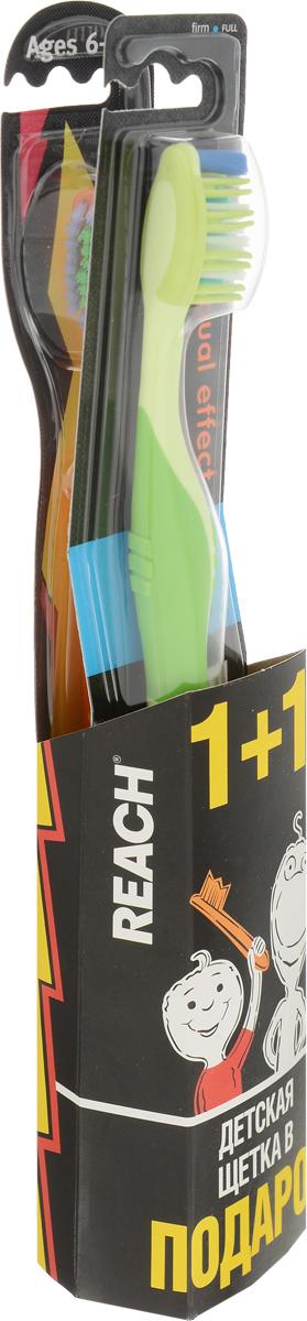 Reach Зубная щетка Dual Effect, жесткая, цвет: салатовый + Подарок (детская щетка)3574660483499Зубная щетка Reach Dual Effect глубоко проникает в межзубные пространства. Резиновые пальчики по бокам щетины мягко массируют десны, предотвращая возникновение пародонтоза. Эргономичный дизайн ручки.Reach - эффективные средства для ухода за полостью рта: зубные щетки, нити и полоскание. Reach эффективно очищают зубы, удаляя налет и остатки пищи из межзубных пространств и вдоль линии десен - именно там, где в 80% случаев возникает кариес. С удалением бактерий устраняется причина неприятного запаха изо рта и обеспечивается свежее дыхание надолго.В качестве подарка прилагается детская зубная щетка Reach от 6 до 12 лет.Товар сертифицирован.Уважаемые клиенты! Обращаем ваше внимание на ассортимент подарков. Поставка осуществляется в зависимости от наличия на складе.