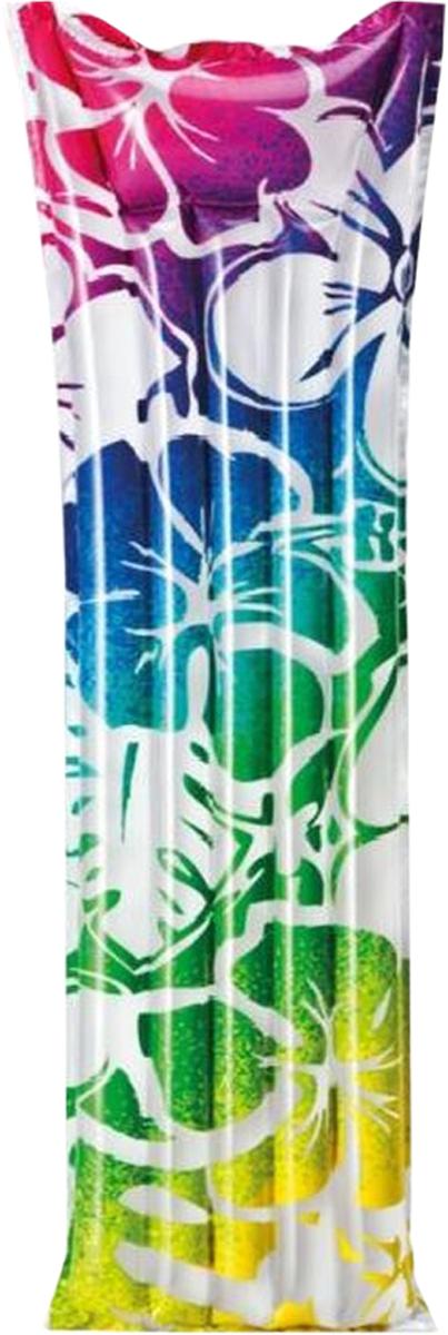 Надувной матрас Intex Красочный, цвет: бирюзовый, синий, фиолетовый, розовый, 183 х 69 смс59720_бирюзовый, синий, фиолетовый, розовыйНадувной матрас Intex Красочный - это замечательный аксессуар для бассейна, при помощи которого можно расслабиться и позагорать на солнце, плавно покачиваясь на воде. У матраса предусмотрен специальный надувной подголовник, делающий пребывание на плоту еще более комфортным. Удобные лунки можно использовать как подстаканники.Надувной матрас от торговой компании Intex изготовлен из прочного многослойного винила, он сохраняет форму и не проседает, надежно удерживая человека на поверхности воды.Размер матраса: 183 х 69 см.