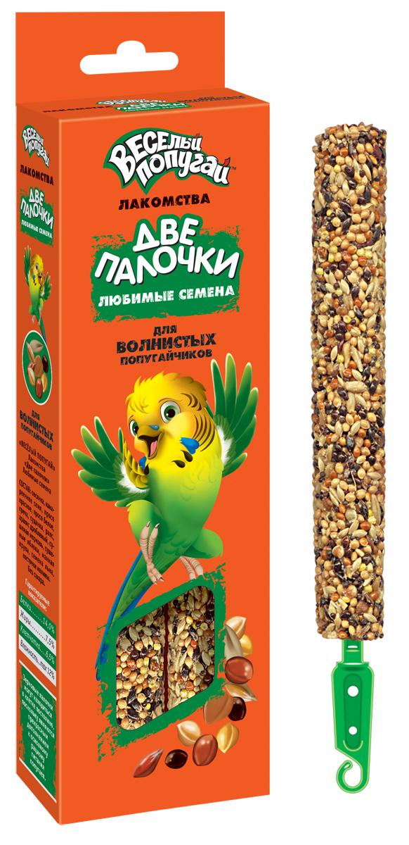 Лакомство для волнистых попугайчиков Веселый попугай Две Палочки, любимые семена, 70 г, 2 шт720Веселый попугай Две Палочки - потрясающие лакомства для волнистых попугайчиков. Две Палочки упакованы в дополнительную упаковку, которая дольше и надежнее сохраняет лакомства и защищает их от проникновения всяких вредителей. Кроме того, они имеют удобное крепление, которое позволяет легко, быстро и надежно закрепить палочку на прутьях клетки. На них гораздо больше вкусностей благодаря тонкой деревянной палочке. Лакомства Веселый попугай Две Палочки - это не только вкусная игрушка для пернатого друга, но и полезная работа для клюва.Товар сертифицирован.