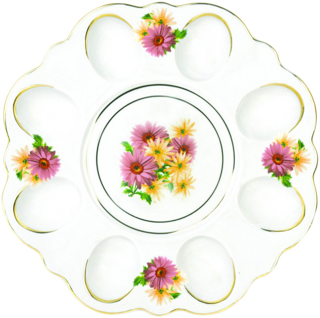 Блюдо для яиц Фарфор Вербилок Розовые герберы. 2635166026351660Блюдо для яиц и кулича Фарфор Вербилок Розовые герберы станет прекрасным подарком на Пасху и гармонично дополнит сервировку праздничного стола. Блюдо изготовлено из высококачественного фарфора и оформлено ярким рисунком и позолотой.От качества посуды зависит не только вкус еды, но и здоровье человека. Блюдо для яиц Фарфор Вербилок - товар, соответствующий российским стандартам качества. Любой хозяйке будет приятно держать его в руках. С такой посудой сервировка стола превратится в настоящий праздник.