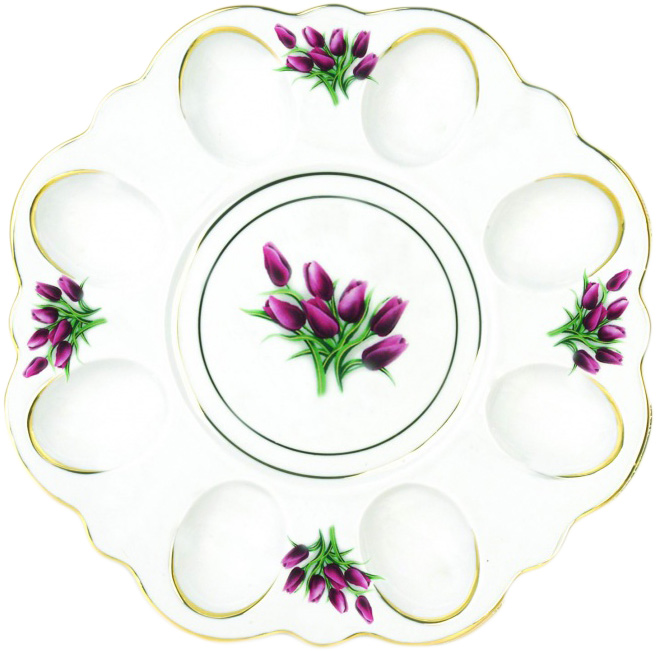 Блюдо для яиц Фарфор Вербилок Тюльпаны. 2635098026350980Блюдо пасхальное - фарфоровое блюдо для яиц и кулича, подарок на Пасху, прекрасно дополнит сервировку праздничного стола, послужит хорошим и добрым подарком.