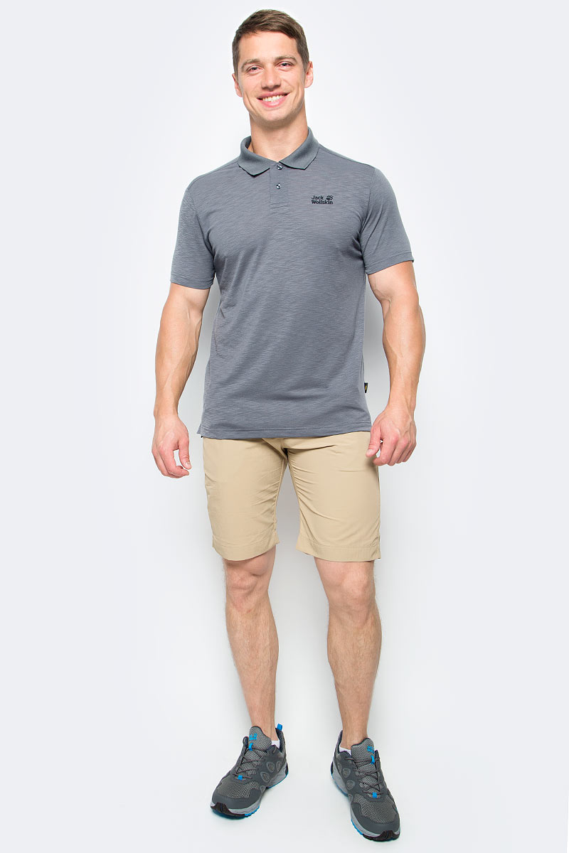 Поло мужское Jack Wolfskin Travel Polo M, цвет: серый. 1804542-6116. Размер L (48/50) платье jack wolfskin wahia dress цвет коралловый 1502892 2043 размер xl 50 52