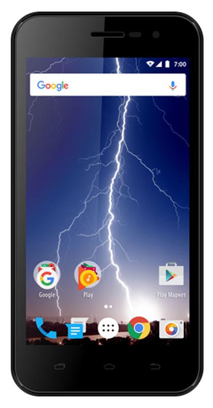 Vertex Impress Lightning, BlackLTNG-BLKVertex Impress Lightning - доступный и яркий смартфон для повседневного общения!Эргономичный и компактный корпус модели Impress Lightning гарантирует комфортное использование смартфона при ежедневном общении. Задняя панель корпуса имеет покрытие soft-touch, благодаря чему смартфон удобно и приятно держать в руке. Классический черный цвет придает смартфону универсальность и обеспечивает практичность.Яркий дисплей с диагональю 4,5 дюйма обеспечивает высокое качество изображения, что делает просмотр интернет-страниц, видео, совершение панорамной съемки, использование приложений и игр еще удобнее.Мощный 4-х ядерный процессор смартфона Impress Lightning обеспечивает бесперебойную работу всех функций смартфона, а также качественное функционирование операционной системы и установленных приложений. Просмотр фильмов и видеороликов, игры, рабочие программы, Интернет - поддержка всех функций на максимальной скорости.С возможностью расширения встроенной памяти при помощи карты microSD развлечения и работа становятся комфортнее: игры, книги, рабочие программы в вашем смартфоне.Смартфон получил новейшую операционную систему Android 7.0 Nougat. Новая ОС стала еще более функциональной и удобной для пользователя. В Android 7.0 появляется ряд дополнительных возможностей и режимов работы, в большей степени ориентированных на пользователя. Операционная система Android 7.0 и сервис Google Play предлагает огромный выбор приложений на любой вкус. Игры, музыка, социальные сети, навигационные карты, фото приложения и многое другое.Смартфон Impress Lightning поддерживает высокоскоростной 4G интернет, что обеспечивает быструю передачу данных. Благодаря доступу к сетям LTE веб-серфинг стал еще проще и комфортнее: игры, фильмы, социальные сети - все намного быстрее!Для того, чтобы вы смогли всегда оставаться на связи модель Impress Lightning поддерживает работу двух SIM-карт, активных в режиме ожидания. Благодаря этому можно использовать возможности сразу 