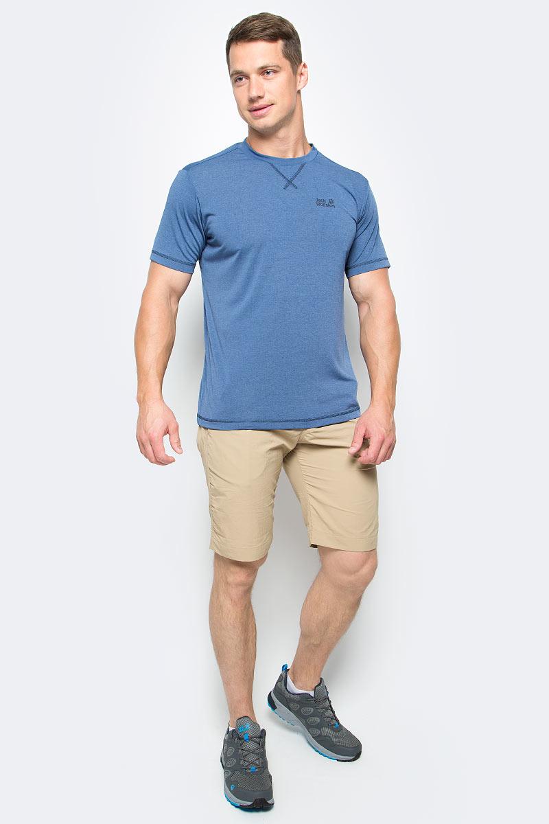 Футболка мужская Jack Wolfskin Crosstrail T M, цвет: синий. 1801671-1588. Размер L (48/50)1801671-1588Футболка мужская Crosstrail T M изготовлена из 100% полиэстера. Ткань приятно охлаждает кожу во время интенсивных нагрузок и предотвращает появление неприятного запаха. Когда вы выкладываетесь на все сто процентов во время тренировок или походов, ваша футболка активна - она быстро отводит влагу наружу и неизменно обеспечивает ощущение сухости при носке. Модель имеет круглый вырез горловины и короткие стандартные рукава. Футболка дополнена логотипом бренда.
