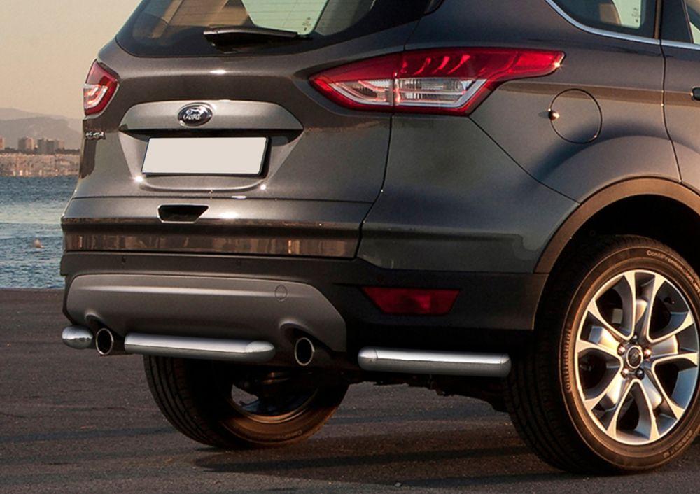 Защита заднего бампера Rival, для Ford Kuga 2013-, d57 уголки+комплект крепежа, 2 штR.1803.013Стильное навесное оборудование Rival дополняет внешний вид автомобиля, придавая ему индивидуальность, позволяет защитить кузов и лакокрасочное покрытие от повреждений при столкновении во время парковки или во время движения в плотном потоке автомобилей.- Использование высококачественной нержавеющей стали(марка AISI 304, толщина стенки 1,5 мм) обеспечивает долговечную эксплуатацию. - Гарантия на сквозную коррозию и на целостность сварных швов - 5 лет.- Использование электроплазменной полировки позволяет добиться качественной равномерной зеркальной поверхности.- Установка в штатные места крепления не требует сверления и дополнительной доработки автомобиля.- Сохранение дорожного просвета (клиренса).- Возможность регулировки навесного оборудования при установке на автомобиле.- Продукт сертифицирован – нет проблем с постановкой на учет.- Производство на высокоточном оборудовании позволяет изготовить индивидуальный продукт с высокой точностью повторения геометрии автомобиля.- В комплекте крепеж и инструкция по установке.Совместимость с дополнительным оборудованием и аксессуарами Rival и с большинством оригинальных аксессуаров.