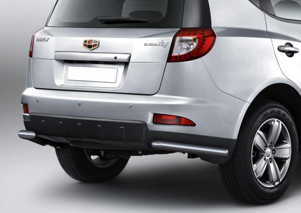 Защита заднего бампера Rival, для Geely Emgrand X7 2013-2016-, d57 уголки+комплект крепежа, 2 штR.1902.003Стильное навесное оборудование Rival дополняет внешний вид автомобиля, придавая ему индивидуальность, позволяет защитить кузов и лакокрасочное покрытие от повреждений при столкновении во время парковки или во время движения в плотном потоке автомобилей.- Использование высококачественной нержавеющей стали(марка AISI 304, толщина стенки 1,5 мм) обеспечивает долговечную эксплуатацию. - Гарантия на сквозную коррозию и на целостность сварных швов - 5 лет.- Использование электроплазменной полировки позволяет добиться качественной равномерной зеркальной поверхности.- Установка в штатные места крепления не требует сверления и дополнительной доработки автомобиля.- Сохранение дорожного просвета (клиренса).- Возможность регулировки навесного оборудования при установке на автомобиле.- Продукт сертифицирован – нет проблем с постановкой на учет.- Производство на высокоточном оборудовании позволяет изготовить индивидуальный продукт с высокой точностью повторения геометрии автомобиля.- В комплекте крепеж и инструкция по установке.Совместимость с дополнительным оборудованием и аксессуарами Rival и с большинством оригинальных аксессуаров.
