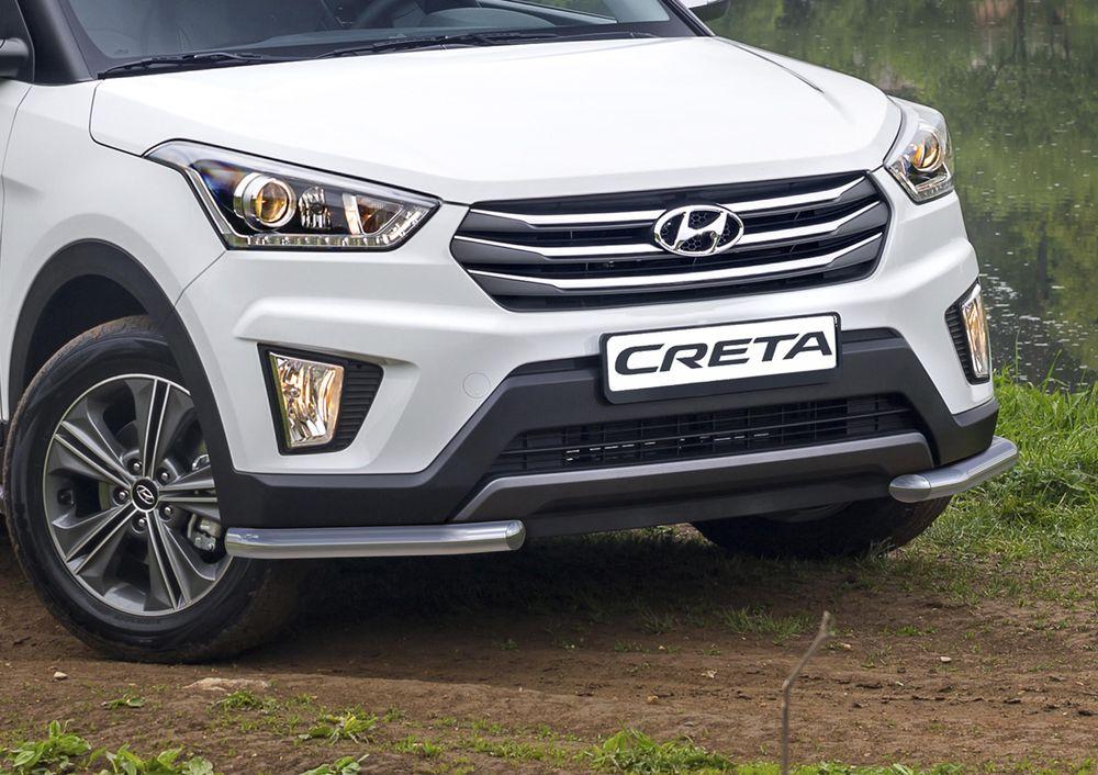 Защита переднего бампера Rival, для Hyundai Creta 2016-, d57 уголки+комплект крепежа, 2 штR.2310.003Стильное навесное оборудование Rival дополняет внешний вид автомобиля, придавая ему индивидуальность, позволяет защитить кузов и лакокрасочное покрытие от повреждений при столкновении во время парковки или во время движения в плотном потоке автомобилей.- Использование высококачественной нержавеющей стали(марка AISI 304, толщина стенки 1,5 мм) обеспечивает долговечную эксплуатацию. - Гарантия на сквозную коррозию и на целостность сварных швов - 5 лет.- Использование электроплазменной полировки позволяет добиться качественной равномерной зеркальной поверхности.- Установка в штатные места крепления не требует сверления и дополнительной доработки автомобиля.- Сохранение дорожного просвета (клиренса).- Возможность регулировки навесного оборудования при установке на автомобиле.- Продукт сертифицирован – нет проблем с постановкой на учет.- Производство на высокоточном оборудовании позволяет изготовить индивидуальный продукт с высокой точностью повторения геометрии автомобиля.- В комплекте крепеж и инструкция по установке.Совместимость с дополнительным оборудованием и аксессуарами Rival и с большинством оригинальных аксессуаров.