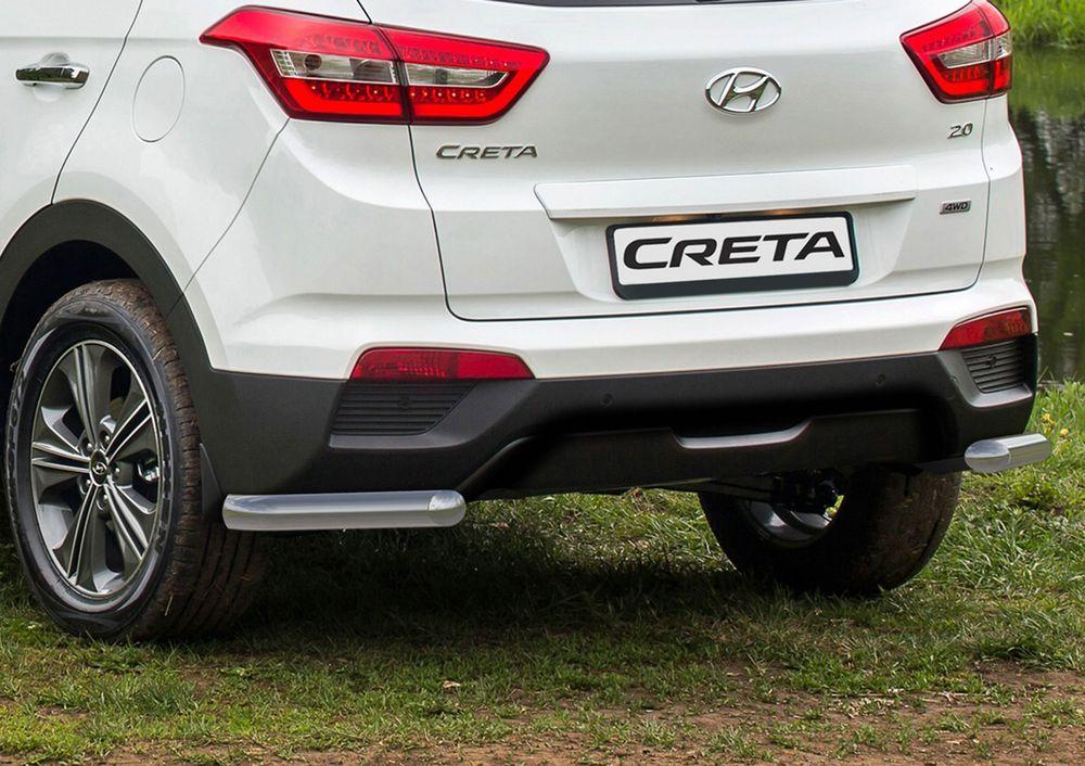 Защита заднего бампера Rival, для Hyundai Creta 2016-, d57 уголки, комплект крепежа, 2 штR.2310.006Стильное навесное оборудование Rival дополняет внешний вид автомобиля, придавая ему индивидуальность, позволяет защитить кузов и лакокрасочное покрытие от повреждений при столкновении во время парковки или во время движения в плотном потоке автомобилей. - Использование высококачественной нержавеющей стали(марка AISI 304, толщина стенки 1,5 мм) обеспечивает долговечную эксплуатацию.- Гарантия на сквозную коррозию и на целостность сварных швов - 5 лет. - Использование электроплазменной полировки позволяет добиться качественной равномерной зеркальной поверхности. - Установка в штатные места крепления не требует сверления и дополнительной доработки автомобиля. - Сохранение дорожного просвета (клиренса). - Возможность регулировки навесного оборудования при установке на автомобиле. - Продукт сертифицирован – нет проблем с постановкой на учет. - Производство на высокоточном оборудовании позволяет изготовить индивидуальный продукт с высокой точностью повторения геометрии автомобиля. - В комплекте крепеж и инструкция по установке.Совместимость с дополнительным оборудованием и аксессуарами Rival и с большинством оригинальных аксессуаров.