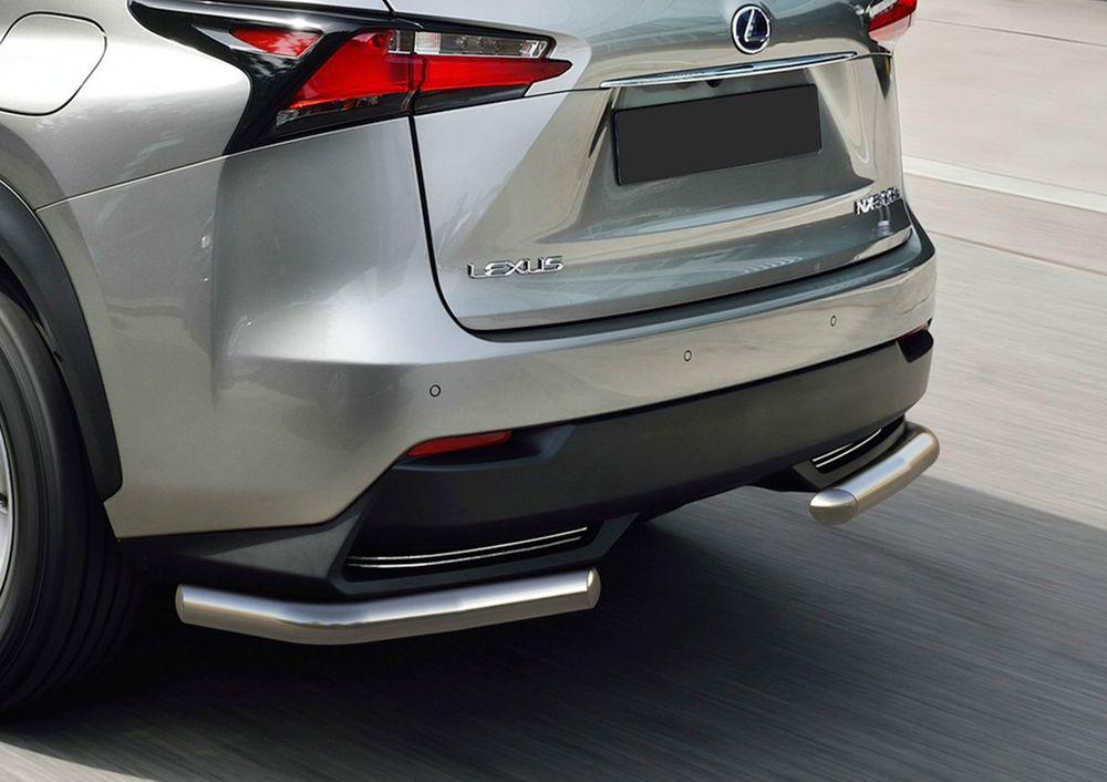 Защита заднего бампера Rival, для Lexus NX кроме 200t и 300h 2014-, d57 уголки+комплект крепежа, 2 штR.3209.002Стильное навесное оборудование Rival дополняет внешний вид автомобиля, придавая ему индивидуальность, позволяет защитить кузов и лакокрасочное покрытие от повреждений при столкновении во время парковки или во время движения в плотном потоке автомобилей.- Использование высококачественной нержавеющей стали(марка AISI 304, толщина стенки 1,5 мм) обеспечивает долговечную эксплуатацию. - Гарантия на сквозную коррозию и на целостность сварных швов - 5 лет.- Использование электроплазменной полировки позволяет добиться качественной равномерной зеркальной поверхности.- Установка в штатные места крепления не требует сверления и дополнительной доработки автомобиля.- Сохранение дорожного просвета (клиренса).- Возможность регулировки навесного оборудования при установке на автомобиле.- Продукт сертифицирован – нет проблем с постановкой на учет.- Производство на высокоточном оборудовании позволяет изготовить индивидуальный продукт с высокой точностью повторения геометрии автомобиля.- В комплекте крепеж и инструкция по установке.Совместимость с дополнительным оборудованием и аксессуарами Rival и с большинством оригинальных аксессуаров.