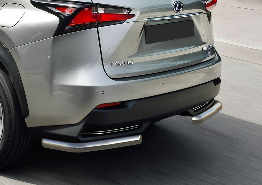 Защита заднего бампера Rival, для Lexus NX кроме 200t и 300h 2014-, d57 уголки+комплект крепежа, 2 шт защита картера и кпп rival для lexus nx 200t 333 3207 1