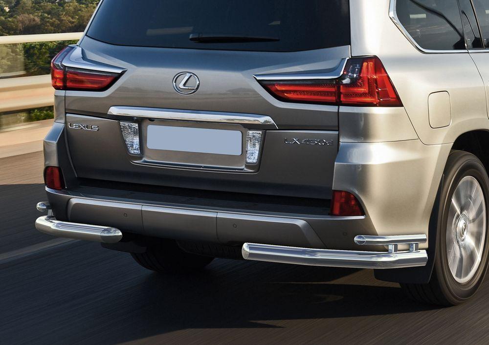 Защита заднего бампера Rival, для Lexus LX 2015-, d76+d42 уголки+комплект крепежа, 2 штR.3210.007Стильное навесное оборудование Rival дополняет внешний вид автомобиля, придавая ему индивидуальность, позволяет защитить кузов и лакокрасочное покрытие от повреждений при столкновении во время парковки или во время движения в плотном потоке автомобилей.- Использование высококачественной нержавеющей стали(марка AISI 304, толщина стенки 1,5 мм) обеспечивает долговечную эксплуатацию. - Гарантия на сквозную коррозию и на целостность сварных швов - 5 лет.- Использование электроплазменной полировки позволяет добиться качественной равномерной зеркальной поверхности.- Установка в штатные места крепления не требует сверления и дополнительной доработки автомобиля.- Сохранение дорожного просвета (клиренса).- Возможность регулировки навесного оборудования при установке на автомобиле.- Продукт сертифицирован – нет проблем с постановкой на учет.- Производство на высокоточном оборудовании позволяет изготовить индивидуальный продукт с высокой точностью повторения геометрии автомобиля.- В комплекте крепеж и инструкция по установке.Совместимость с дополнительным оборудованием и аксессуарами Rival и с большинством оригинальных аксессуаров.
