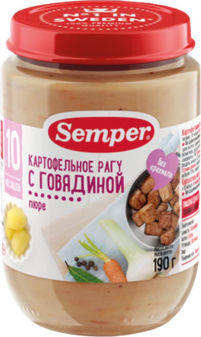 Semper пюре картофельное рагу с говядиной, с 10 месяцев, 190 г semper пюре картофельное с овощами и телятиной с 9 месяцев 190 г