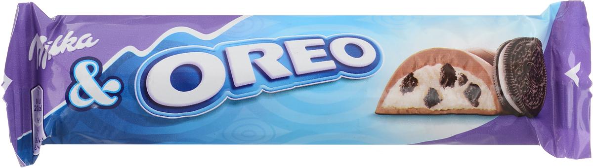 Milka Oreo Батончик Rieger, молочный шоколад с кусочками печенья, 37 г milka шоколад daim молочный шоколад с кусочками миндальной карамели 100 г