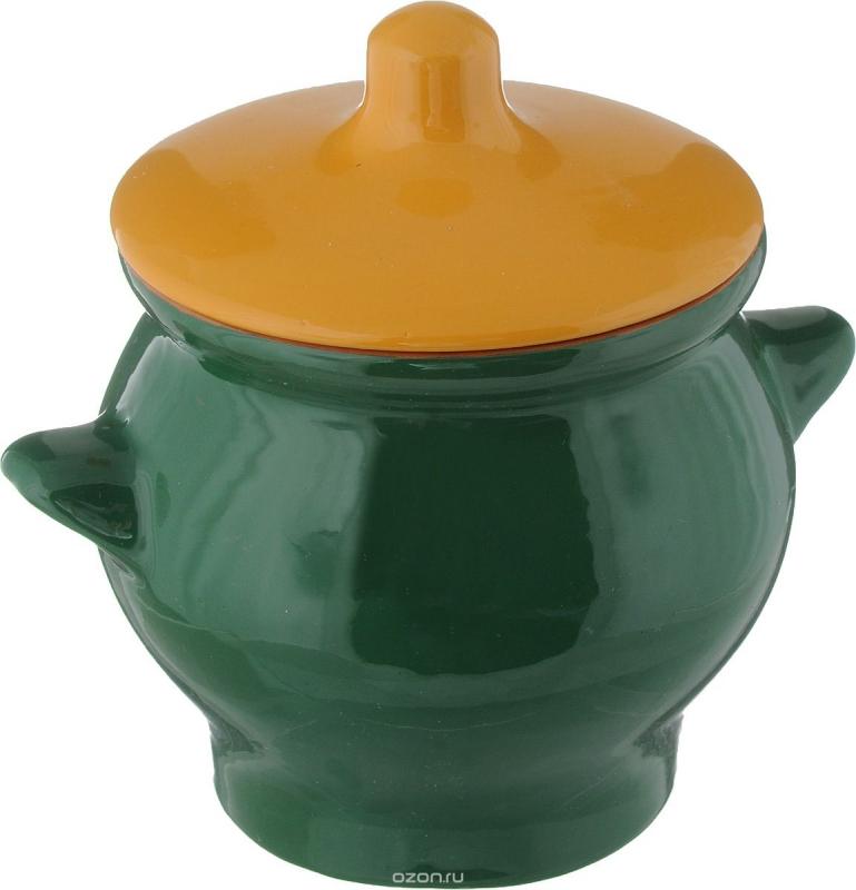 Горшок для жаркого Борисовская керамика Радуга, цвет: желтый, зеленый, 650 млРАД00000347_желтый,зеленыйГоршок для жаркого Борисовская керамика Радуга, цвет: желтый, зеленый, 650 мл
