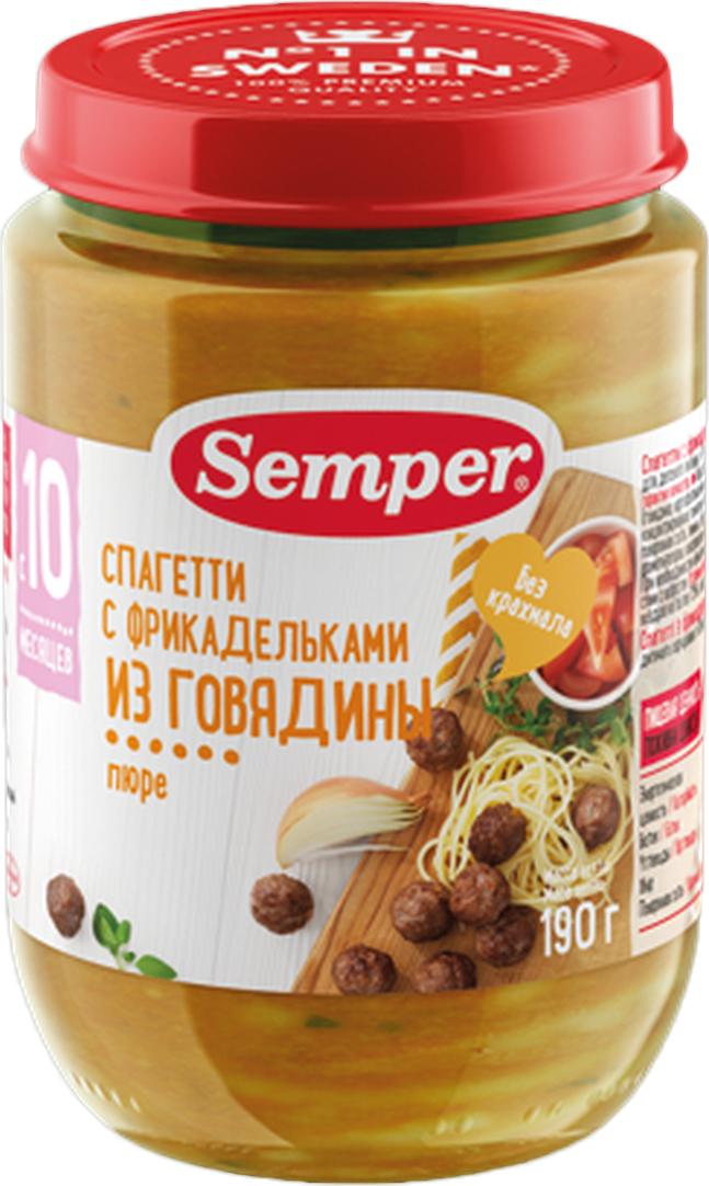 Semper пюре спагетти с фрикадельками из говядины, с 10 месяцев, 190 г село зеленое творог 5% 200 г