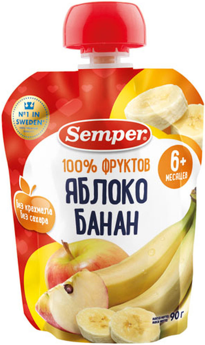 Semper пюре яблоко и банан, с 6 месяцев, 90 г26102Вкусное и полезное пюре в практичной упаковке — находка для мамы! Калий, которым богаты бананы, ежедневно необходим ребёнку для правильного функционирования сердечно-сосудистой системы и кишечника, а железо и витамин С способствуют укреплению иммунитета. Пюре можно взять с собой на прогулку или в поездку, оно не разольется и не разобьется. Пауч – прекрасный способ приучить ребенка есть самостоятельно, развивая моторику рук.
