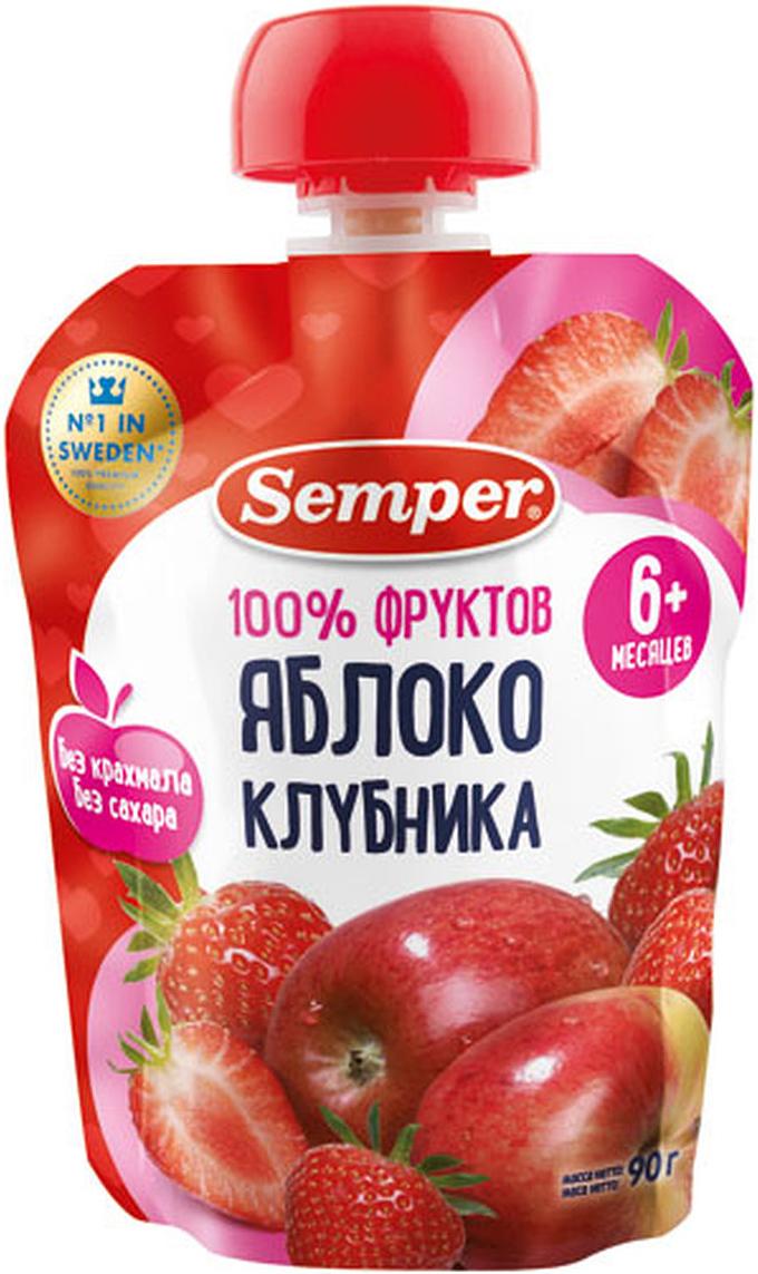 Semper пюре яблоко и клубника, с 6 месяцев, 90 г N semper паста итальянская с форелью в сливочном соусе с 11 месяцев 190 г