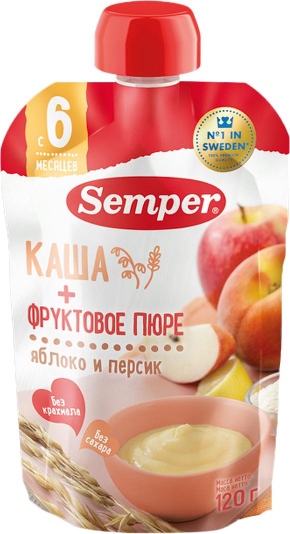 Semper пюре яблочно-персиковое с кашей, с 6 месяцев, 120 г semper пюре яблоко с 4 мес 125 гр