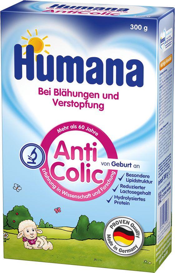 Humana Анти-колик специальная молочная смесь, с 0 до 36 месяцев, 300 г75197Humana AntiColic - эта сбалансированная молочная смесь предназначена для вскармливания здоровых детей с рождения. Благодаря специальному составу смесь рекомендуется для лечения и профилактики колик, метеоризма, запоров и срыгиваний. Смесь содержит частично гидролизованный сывороточный белок, а также отличается пониженным содержанием лактозы и уникальной запатентованной комбинацией молочных жиров с высоким содержанием бета-пальмитата – 55% для лечебного и профилактического питания детей с функциональными нарушениями желудочно-кишечного тракта, что обеспечивает комфортное пищеварение, профилактику аллергии и предупреждение колик.