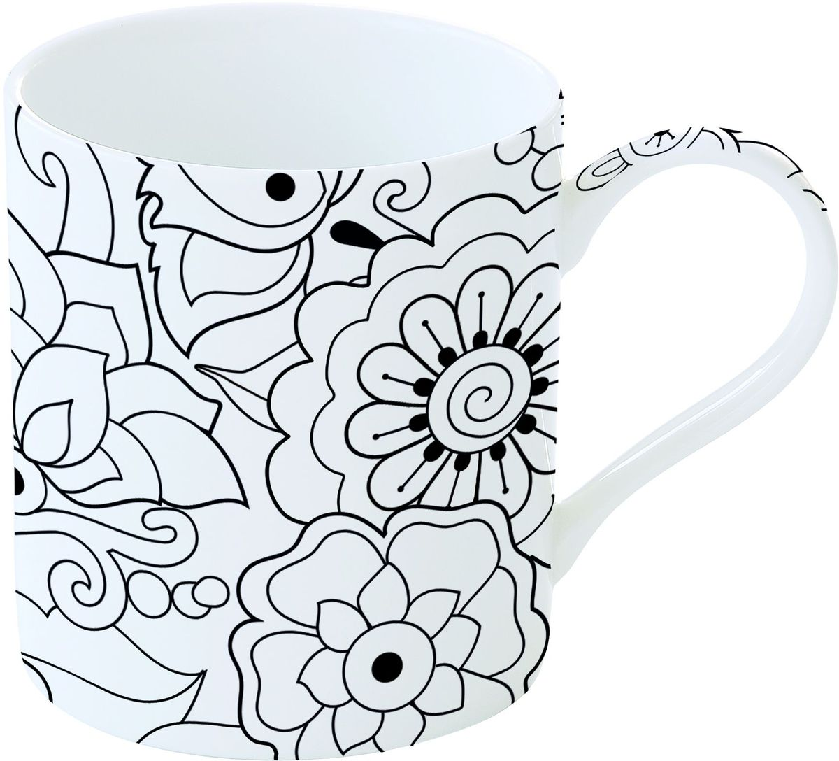 Кружка Easy Life Цветочки, с красками и кисточкой, 350 мл кружка кофе 350 мл nuova r2s s p a кружка кофе 350 мл